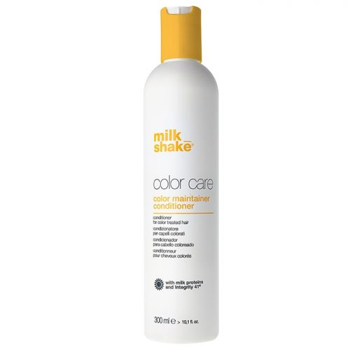 milk_shake® Color Maintainer Conditioner is the perfect way to protect your hair from colour fade whilst leaving it soft, smooth and easy to control and style. milk_shake® Color Maintainer Conditioner is perfect for treating and conditioning coloured hair whilst protecting it from colour fade. It combines the milk_shake® Integrity 41 formula and adds moisture to keep your hair in optimal condition. milk_shake® Color Maintainer Conditioner is perfect for all seasons. To optimise the results you should combine it with milk_shake® Color Shampoo and milk_shake® Yogurt Mask treatment. You can expect healthy and vibrant hair when using this product. What it does:- Contains milk proteins that protect the inner cortex and cuticles of your hair maintaining soft, shiny and silkier hair. milk_shake® Color Maintainer Conditioner contains Integrity 41 (sunflower seed extract) which protects your hair from colour fade. Active ingredients: Integrity 41® (hydroglycolic sunflower seed extract, rich in antioxidant polyphenols), milk proteins. Use: Apply by distributing over clean, damp hair. Leave in for 2 to 5 minutes. Comb through and rinse well. Proceed with the desired style. Best for:- All colour treated hair